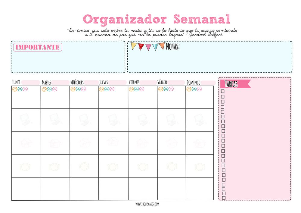 Calendario Semanal.Pin De Karla Mendez En Curiosidades Organizador Semanal