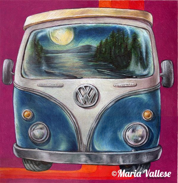 """""""Adirondack Volkswagen Bus"""" Matted and Signed Print $20 © Maria Vallese"""