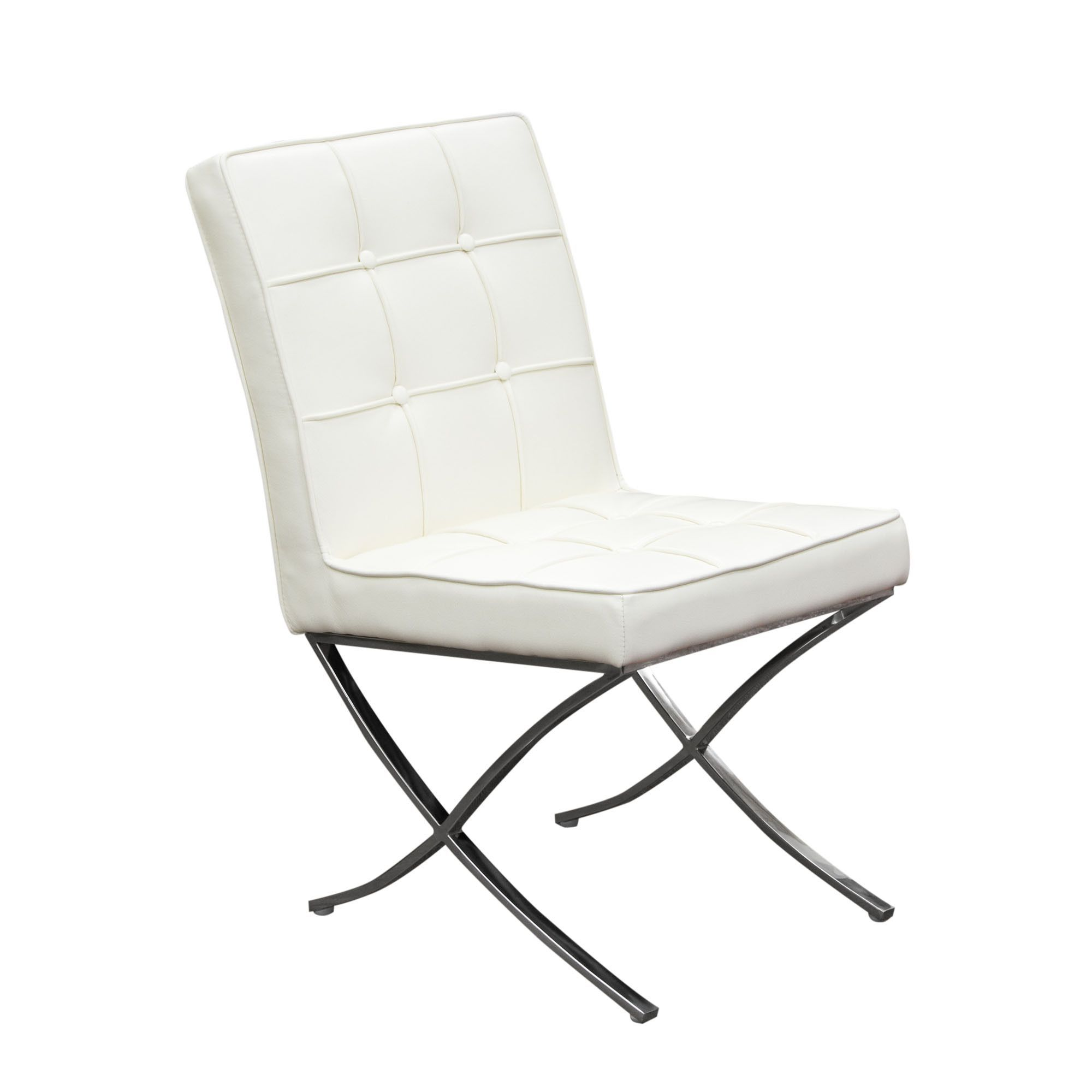 Cordoba Tufted Dining Chair with Stainless Steel Frame in White