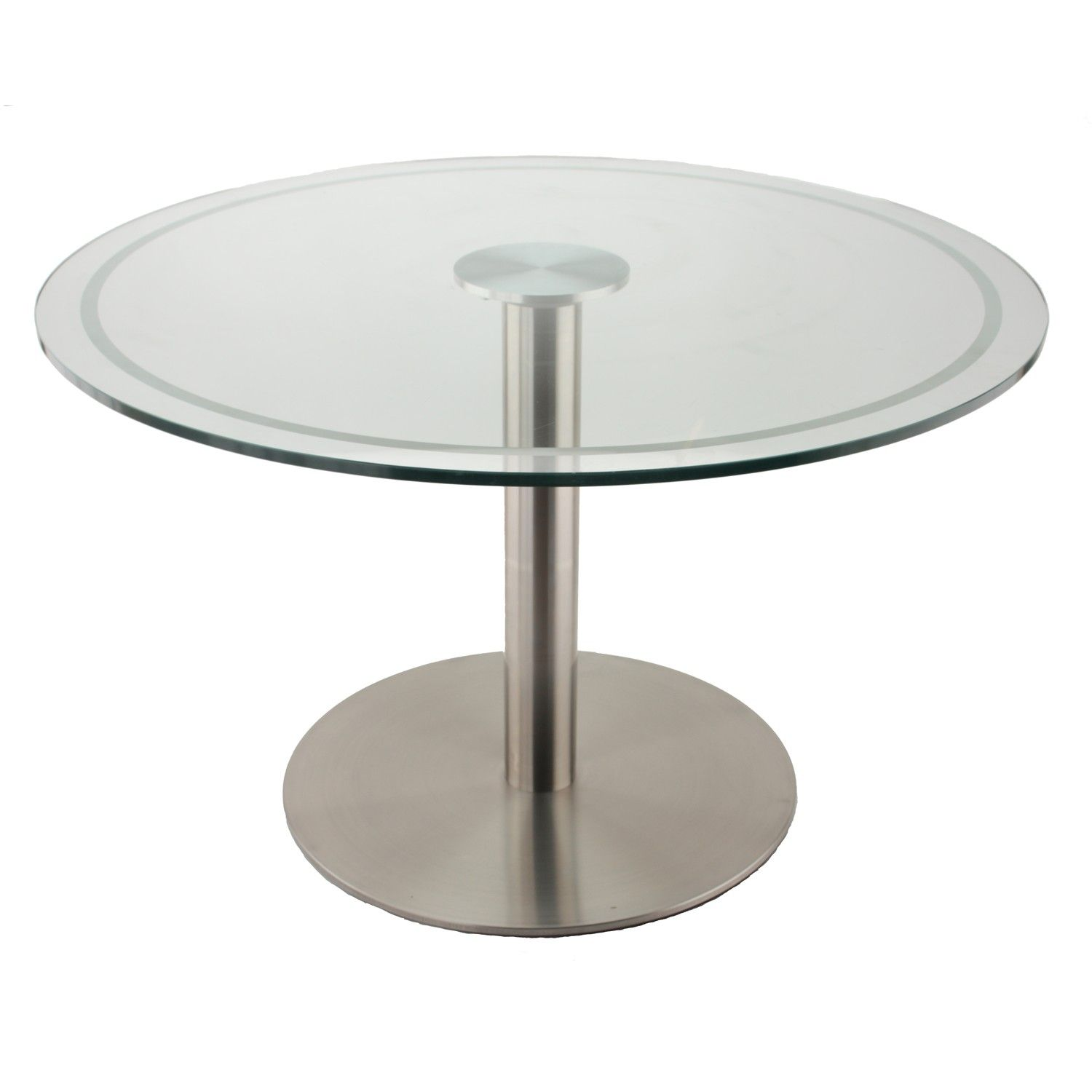 The RFL750 Stainless Steel Table Base with Glass Table Top using