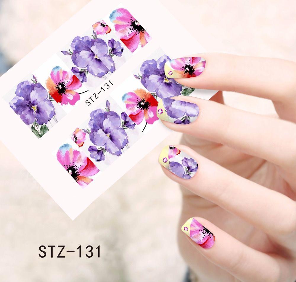 1 PCS Pourpre et Rose Impression Nail Art Image Autocollants Nail Stickers Eau Transfert Complet Wraps Feuilles Soins de Beauté Outils SASTZ131