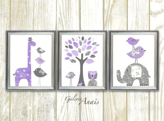 096 Baby girl nursery art nursery wall art kids art giraffe elephant tree Birds owl purple gray Set of three prints IMPORTANT: This is a set of prints made on matte photo paper that will need to be framed. Before ordering, make sure to read the shop policy for more info: