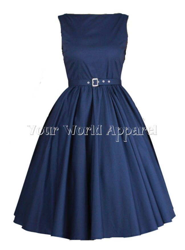 Hepburn Style Dress Navy Blue 1950\'s 1960\'S Rockabilly Evening Pinup ...
