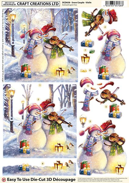 Craft Creations Easy To Use Die-Cut 3D Decoupage Snow Family DCD659