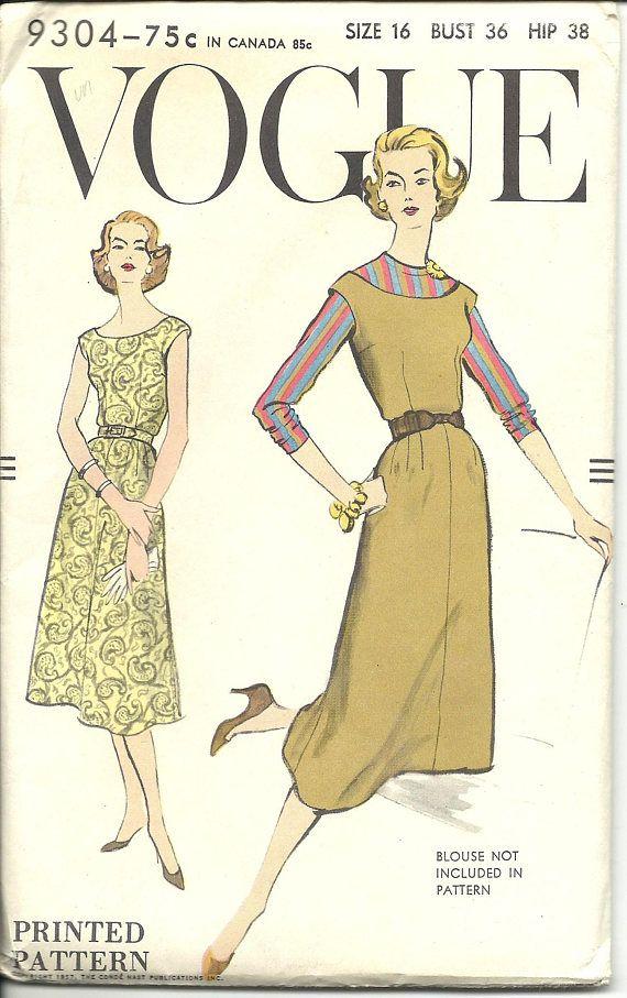 Vogue 9304 / UNCUT FF / Vintage 1950s Sewing Pattern for Dress