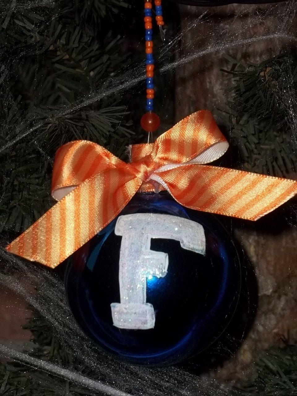 f847718ec41a Blue and Orange hand painted Florida Gators Christmas Ornaments UF Gator  Fan glittery.  8.00