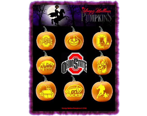 contains 8 pumpkin carving patterns for all your football season