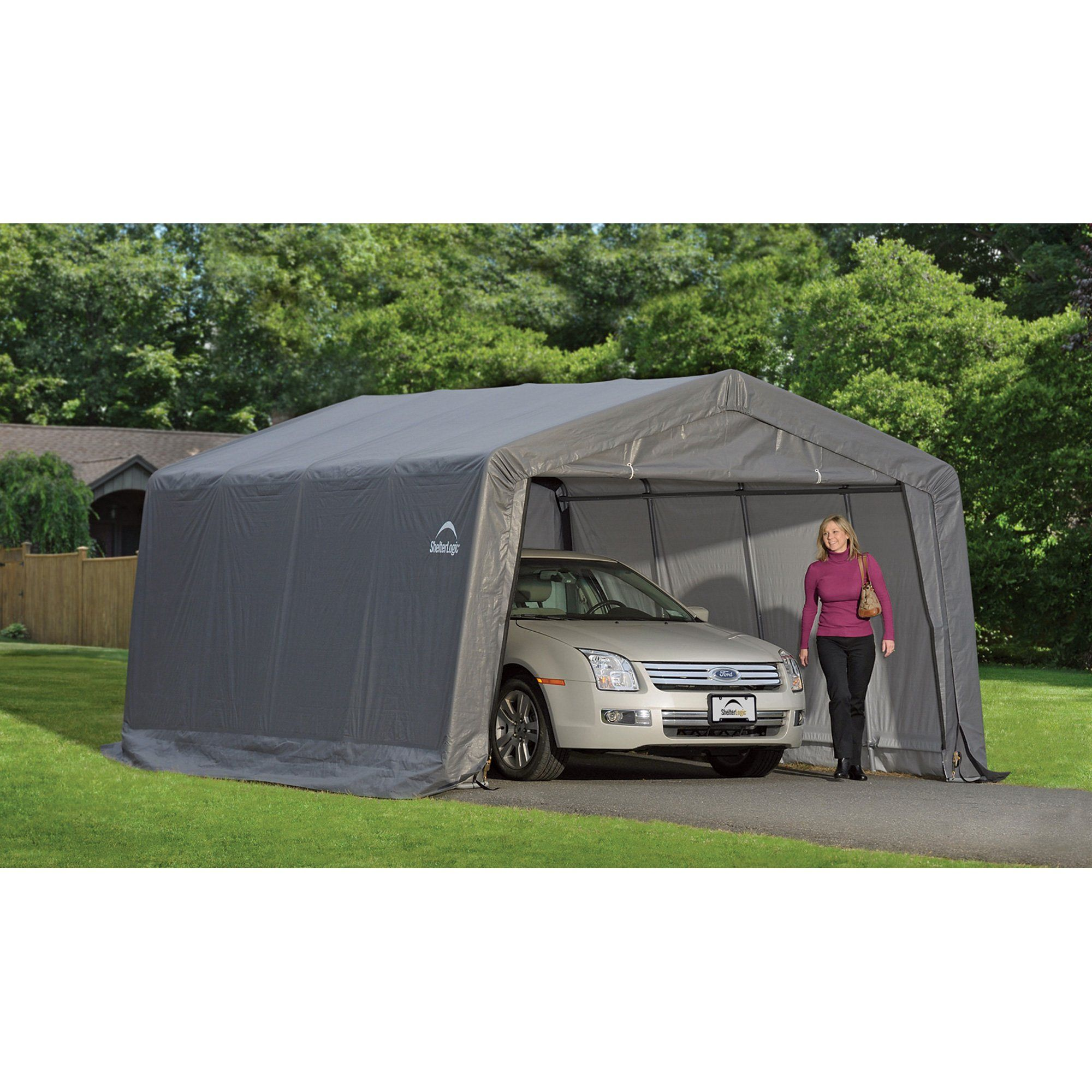ShelterLogic Peak Style GarageinaBox Grey 12 x 16 x 8 ft