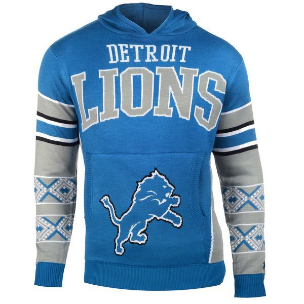 Men's Detroit Lions NFL Klew Blue Big Logo Sweater Pullover Hoodie