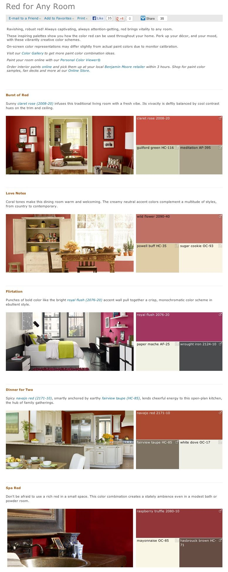 Favorite, Popular, U0026 Best Selling Shades Of Red Interior Paint Color  Palettes From Benjamin