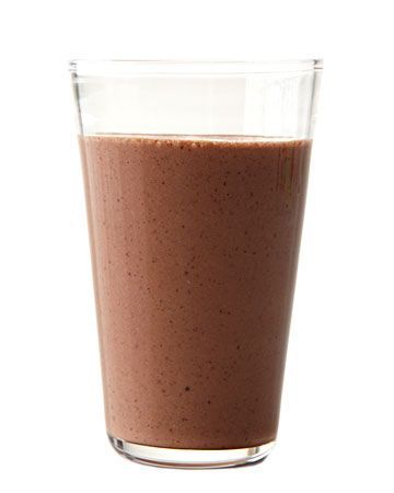 Chocolate-Almond Smoothie    1 ripe banana  1 cup low-fat milk  1/4 cup almond butter  1 tablespoon honey  2 tablespoons unsweetened cocoa powder  1/2 cup ice    Combine all ingredients in a blender, and blend until smooth.    Serves 2. Per serving: 346 calories; 3 g saturated fat; 17 g unsaturated fat; 6 mg cholesterol; 38 g carbs; 196 mg sodium; 11 g protein; 4.5 g fiber.