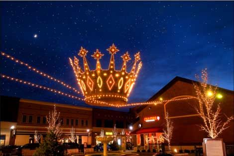 Zona Rosa in Kansas City, Christmas with the Crown Ornaments that were salvaged from the old downtown decorations, I think from THE JONES STORE.