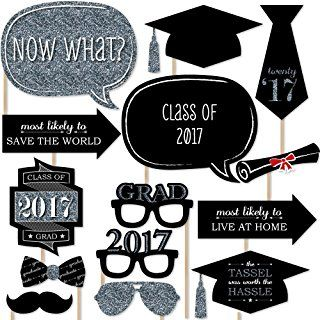 Graduation Party - Silver - Photo Booth Props Kit - 20 Count