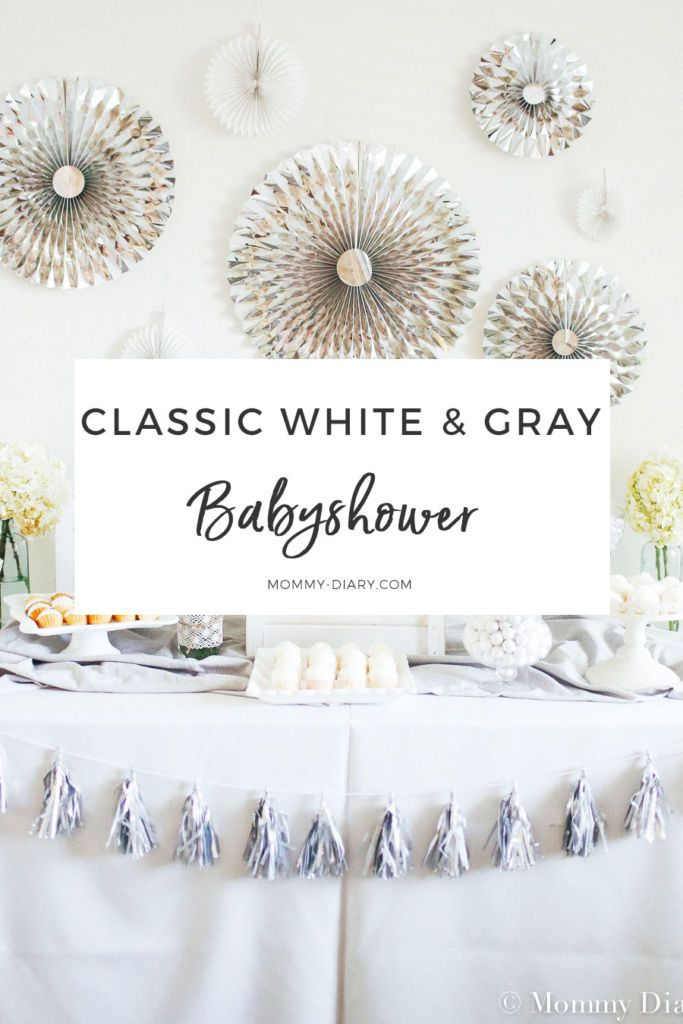 Classic Gender Neutral White Gray Baby Shower Mommy Diary Grey Baby Shower Classic Baby Shower Neutral Baby Shower