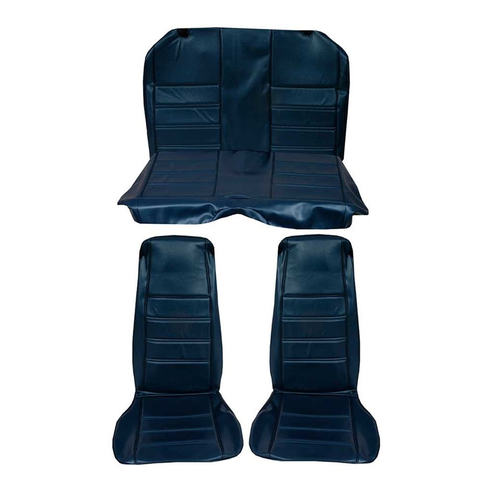Front Rear Bucket Seat Upholstery Blue 1971 1973 Mustang Coupe Standard Interior Seat Upholstery Upholstery Ford Trucks Mustang Coupe Lifted Ford Trucks