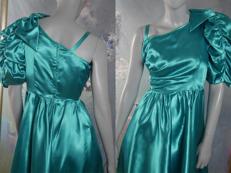 Turquoise Satin Dress, 1980s Prom Dress, One-Shoulder Vintage Satin ...