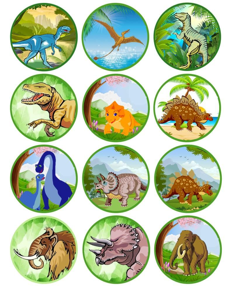 Dinosaur Printable Cupcake Toppers Instant Download Party Supply Digital File Dinosaur Printables Cupcake Toppers Printable Dinosaur Images