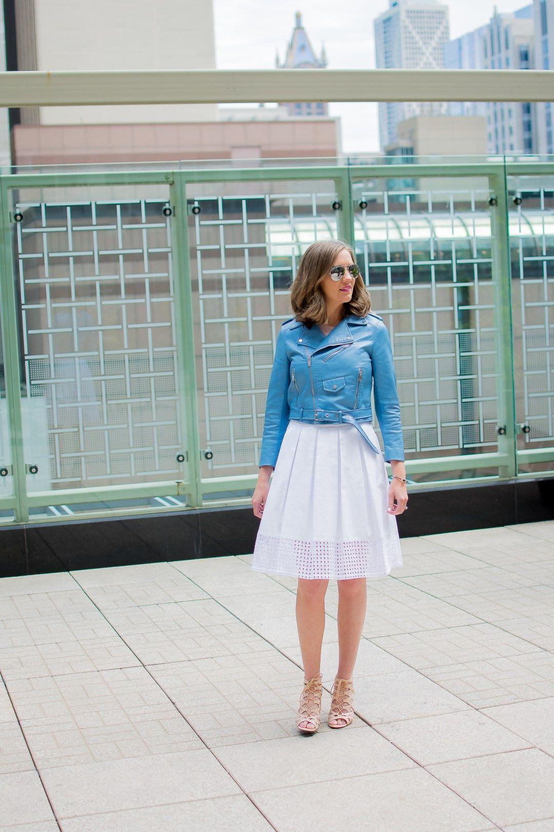 466a49f56437 zara-blue-cropped-moto-jacket-white-eyelet-midi-skirt -chicago-terrace-lace-up-heels-peninsula-hotel