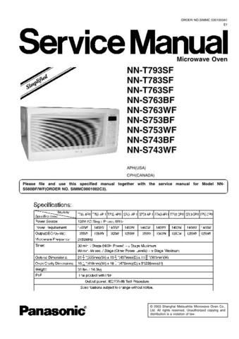 Panasonic Microwave Oven Nnt793sf Service Manual