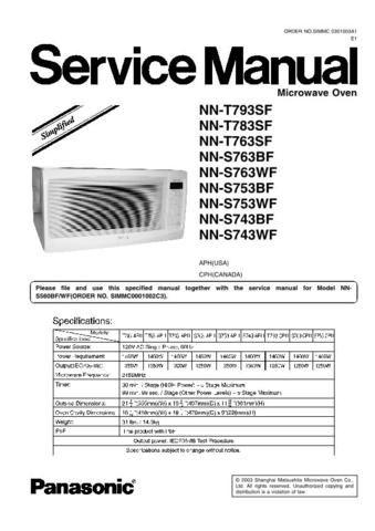 Panasonic Microwave Oven Nnt793sf Service Manual