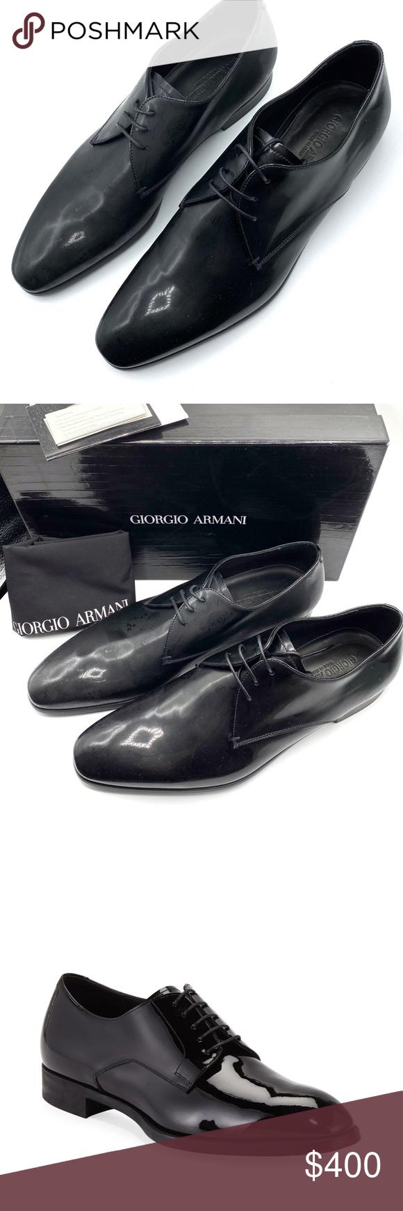 armani black formal shoes