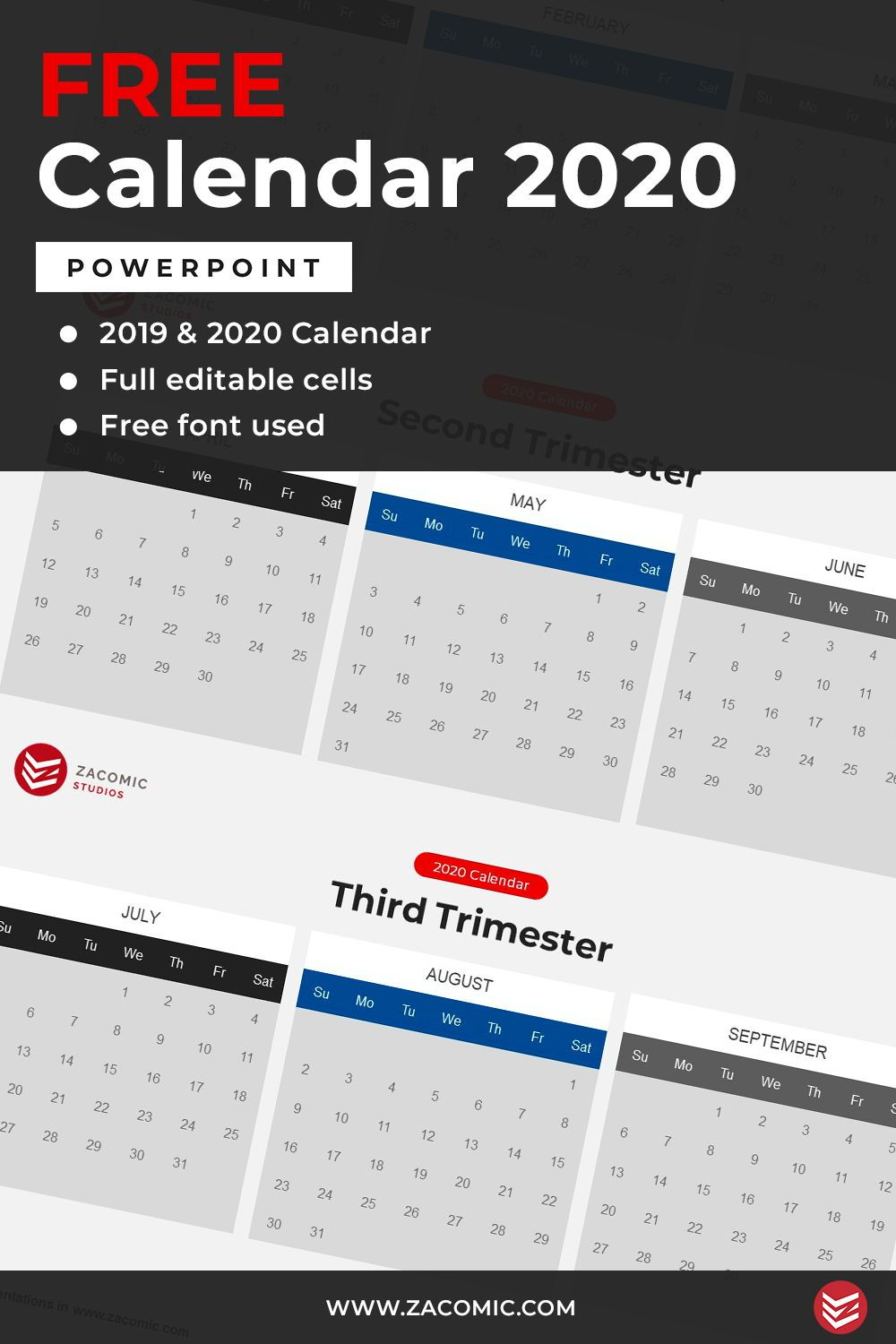 Free 2020 Calendar Powerpoint Template Template For Powerpoint Calendar Template Powerpoint Templates Powerpoint