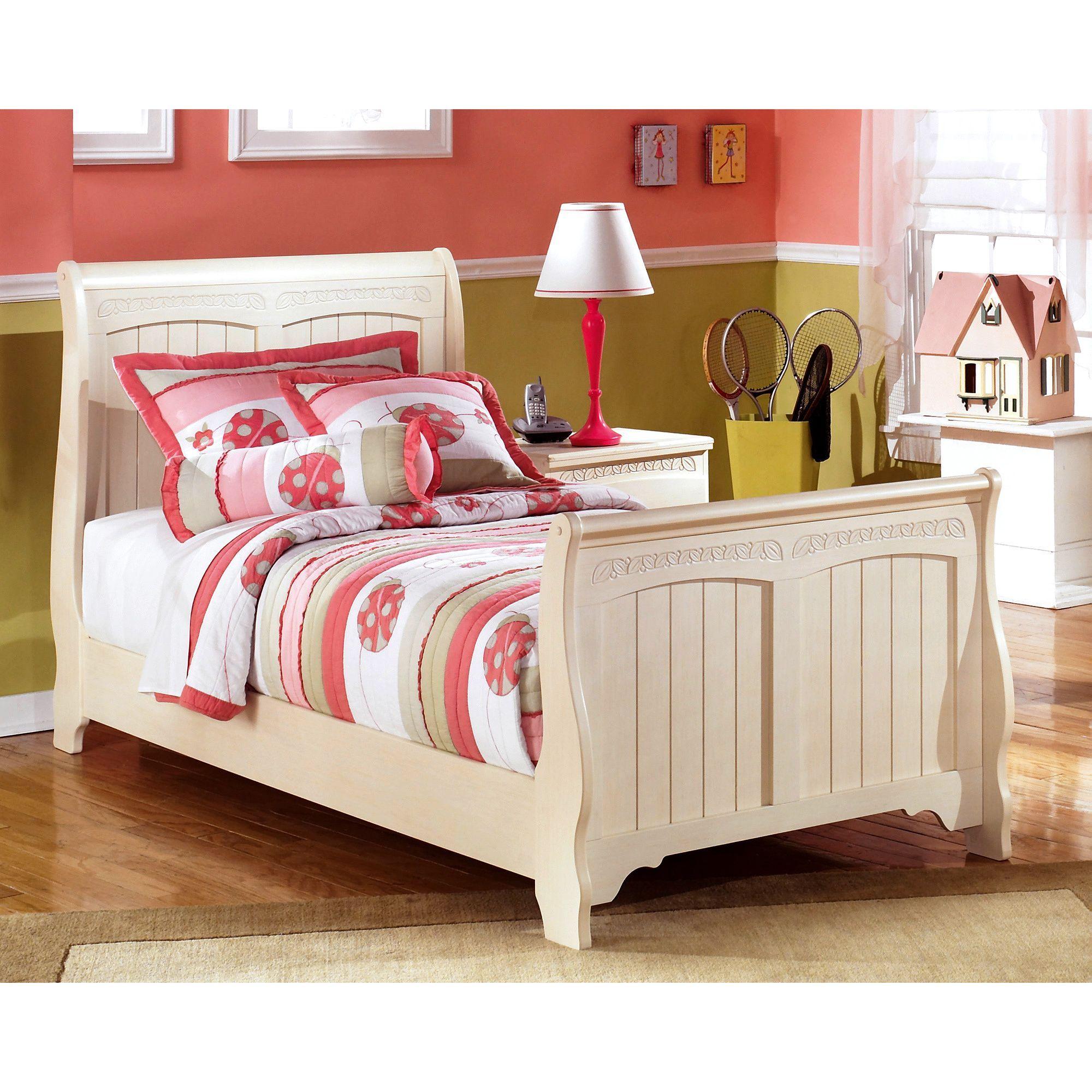 Ashley Cottage Retreat Cream Ivory Sleigh Bed Set Twin