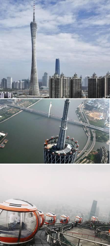 10 torres de observación más asombrosos Torre de Cantón (China)