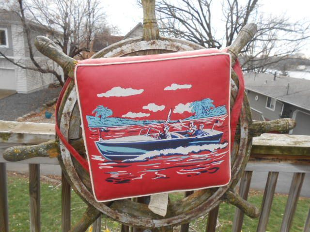 Vintage 1950 S Montgomery Wards Red Vinyl Boat Cushion Old Wood Chris Craft Old Wood Chris Craft Vintage Boats