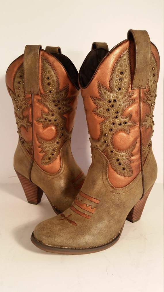 951276af81f Size 7.5 Women's Cowboy Boots Very Volatile Rhinestone Hand Painted ...