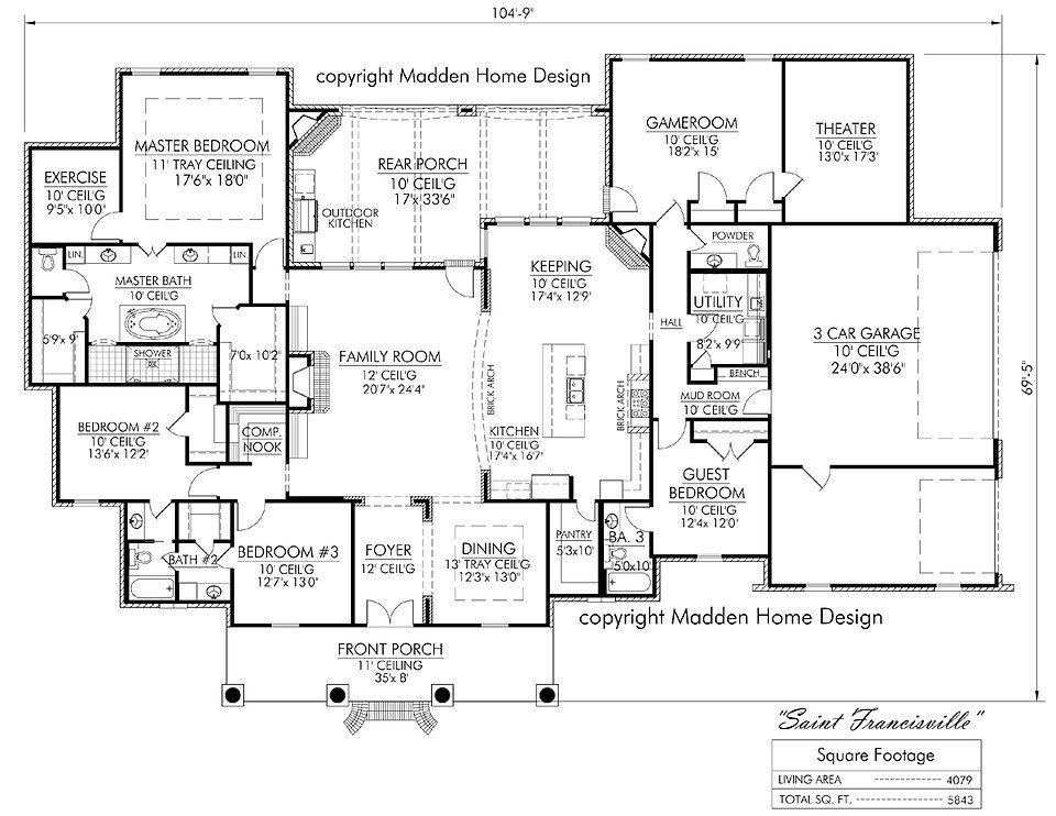 Madden home design acadian house plans french country for Madden house plans