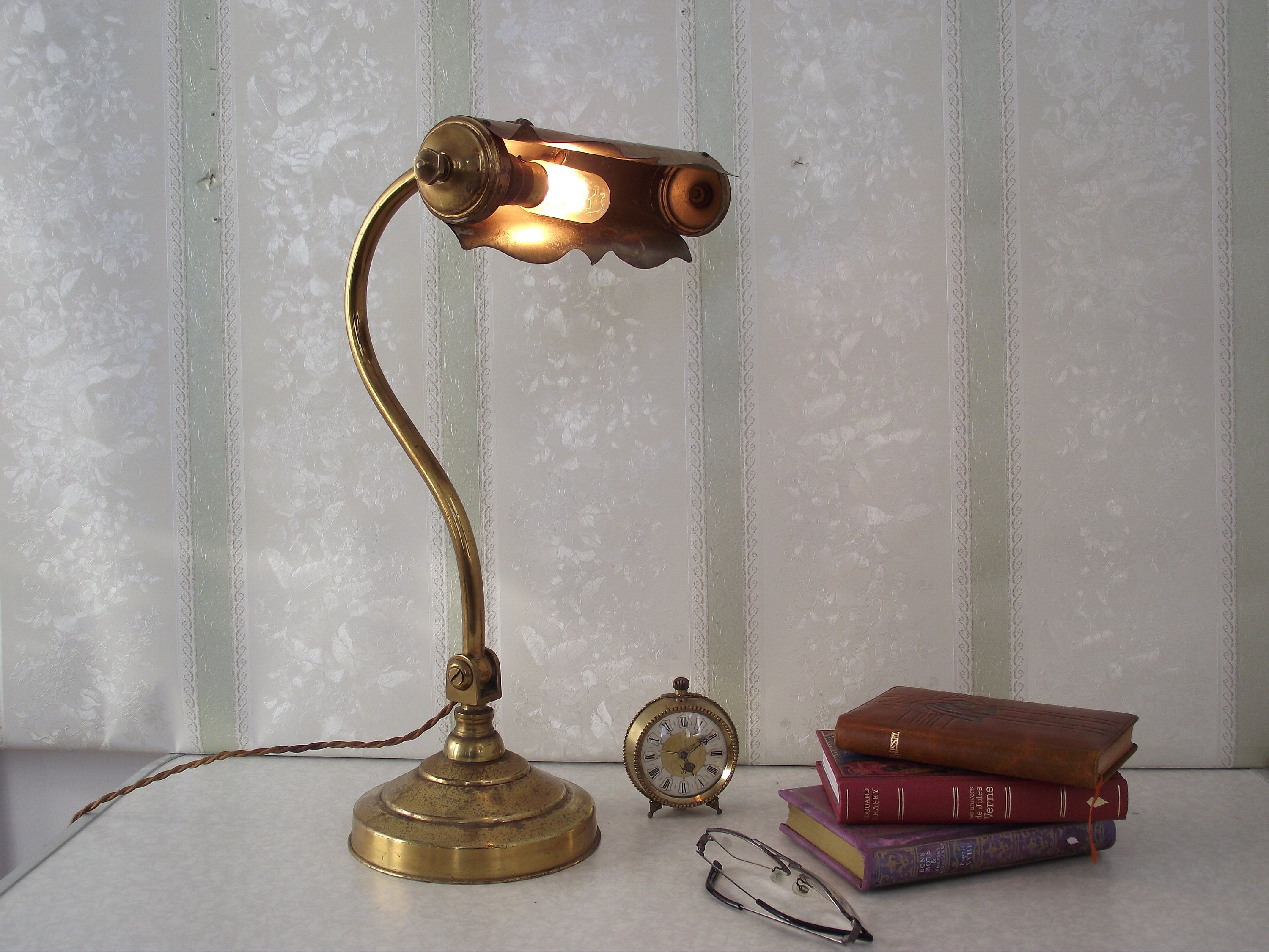 Antique French Bankers Lamp French Brass Desk Lamp French Desk