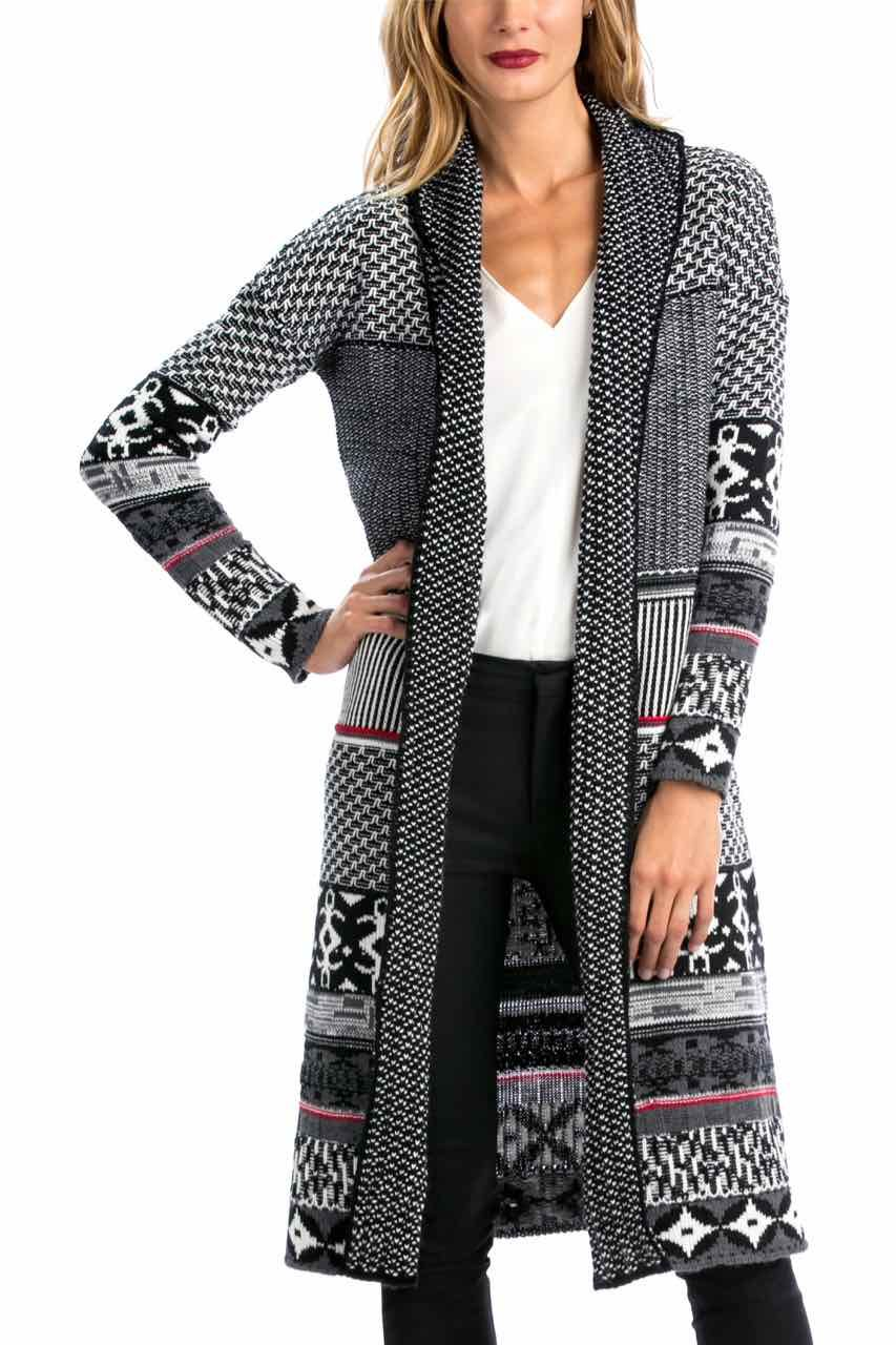 Desigual Cardigan Kigual Lacroix, Black and White, Canada
