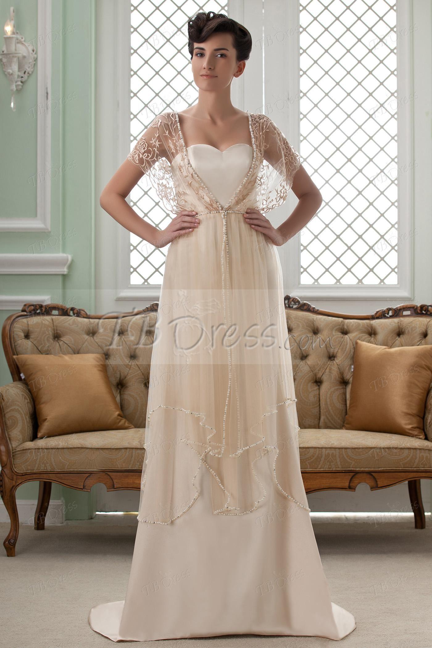 Cheap wedding dresses with sleeves  Empire VNeck ShortSleeves Court Train Beading Wedding Dress