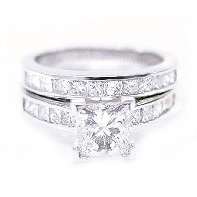 Great K White Gold Diamond Engagement Ring Princess Cut Wedding Bridal Set