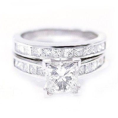 14k white gold diamond engagement ring princess cut wedding bridal set 7 - Princess Cut Diamond Wedding Ring Sets