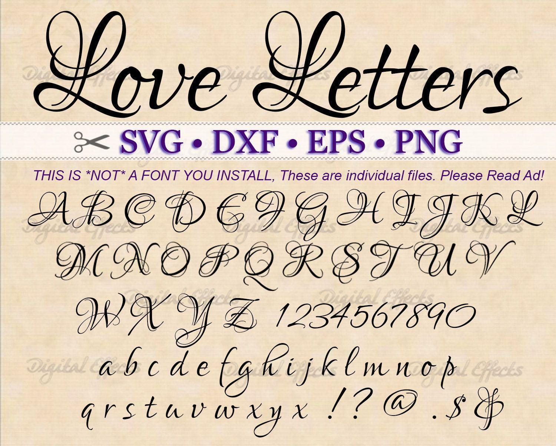 Love Letters Fancy Script Monogram Svg Dxf Eps Png Etsy Lettering Letters Script Monogram