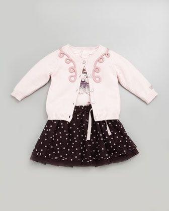 Lili Gaufrette Embroidered Knit Cardigan, Doll-Print Long-Sleeve Shirt & Polka-Dot Skirt