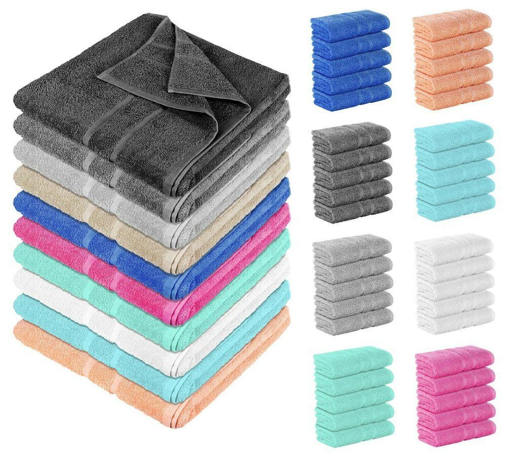 5 Stuck Frottee Handtucher Dusch Bade Gaste Sauna Tucher 100
