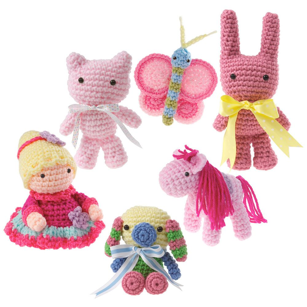Sugar and spice and everything nice�that�s what these amigurumi are made of! Little girls or anyone who loves pink will adore these sweet little characters including cat, butterfly, pony, bunny, princess, and puppy.Size4-6� tallSkill levelIntermediateMaterialsAll animals are made with size G hook and worsted-weight yarn, and are stuffed with polyester fiberfill.Safety NoticeButtons and small parts can be a hazard to small children. To be safe, a...