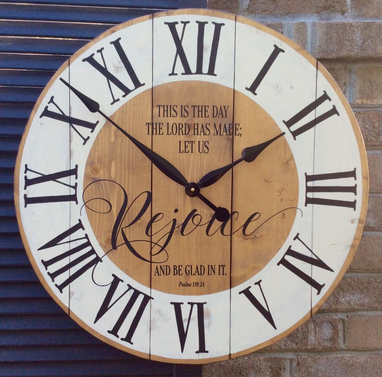 Large Wall Clocks, Religious Wall Clock, Bible Verse Art, Christian