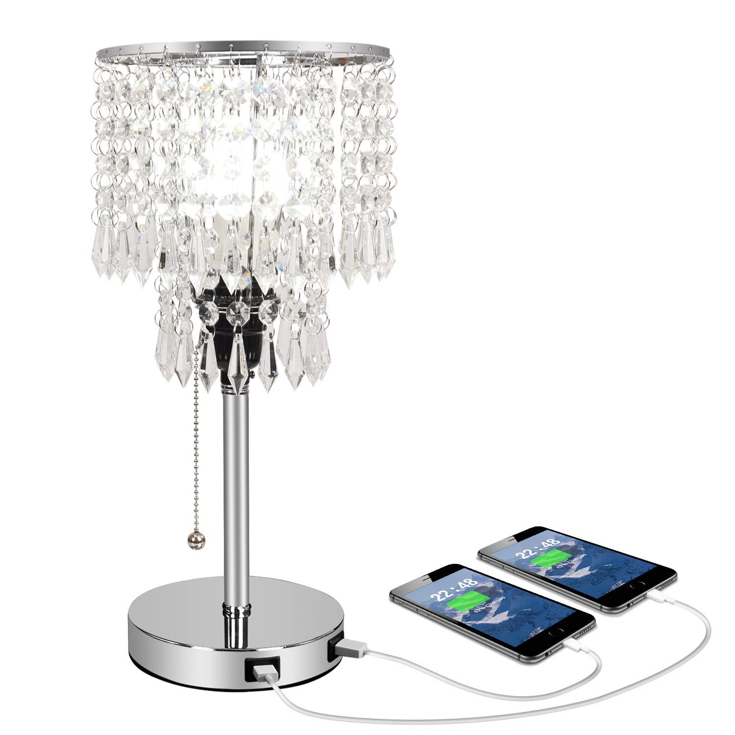 Silver Crystal Bedside Table Desk Lamp With Dual Usb Charging Port Acaxin Bedroom Lamps For Nightstand Bli In 2020 Bedroom Lamps Crystal Table Lamps Glass Table Lamp