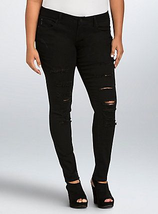 Torrid Skinny Jean - Black Rinse with Ripped Destruction (Regular ...
