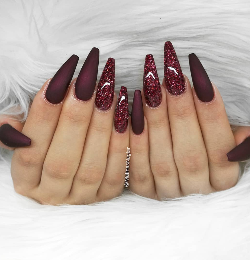 60 Trendy Burgundy Acrylic Coffin Nails Design You Should Try Wine Nails Red Acrylic Nails Maroon Nails