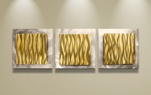 Gold Wall Art \'Gold Essence\' - 38x12 in. - Gold Color Metal Artwork ...