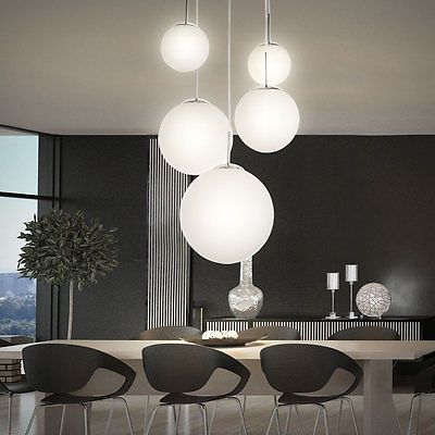 satinierte glas kugel pendelleuchte designerst ck matter nickel deckenlampe top wohnzimmer. Black Bedroom Furniture Sets. Home Design Ideas