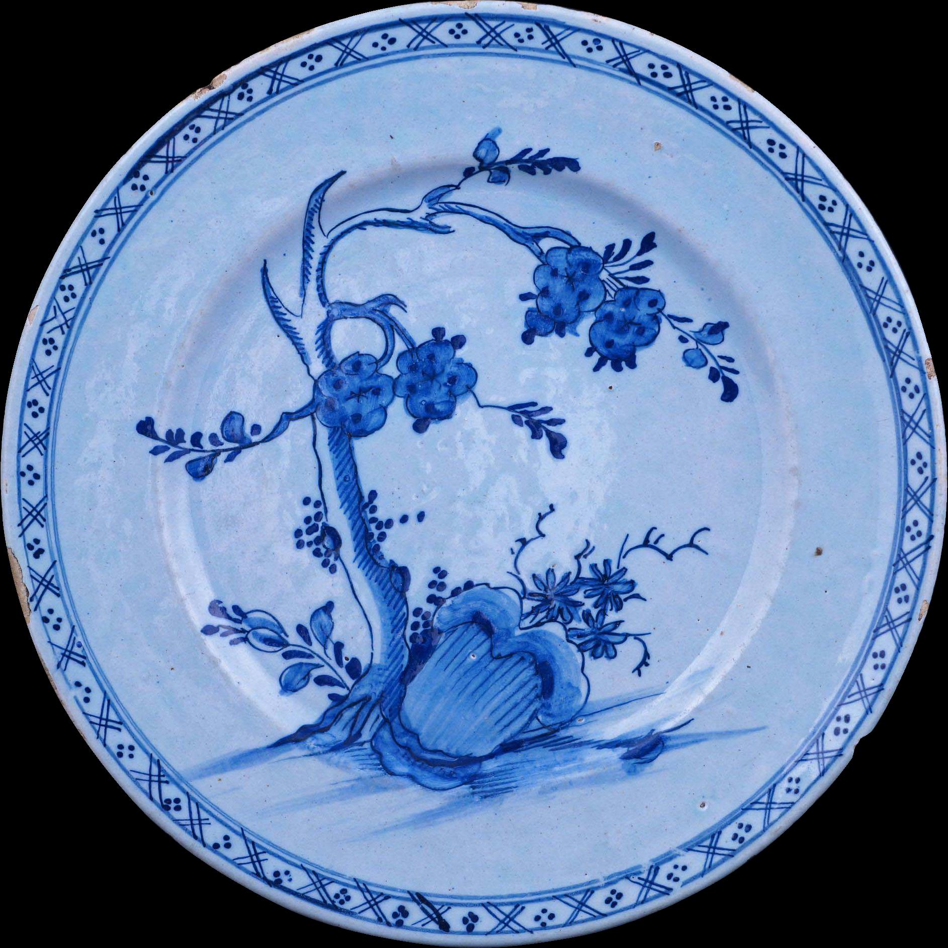 Dutch Delft Tin Glaze Plate Blue And White Kangxi Style 18th Century Blue Plates Delft Fine Porcelain