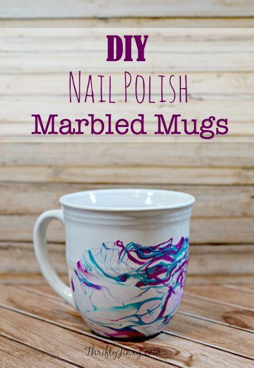 Diy Nail Polish Marbled Mugs Craft Thrifty Jinxy Mug Crafts Diy Nail Polish Diy Christmas Mugs