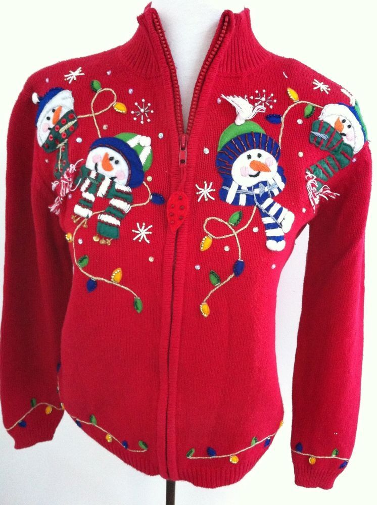 Winter Snowman Medium Ugly Christmas Sweater. Highly Embellished Red ...