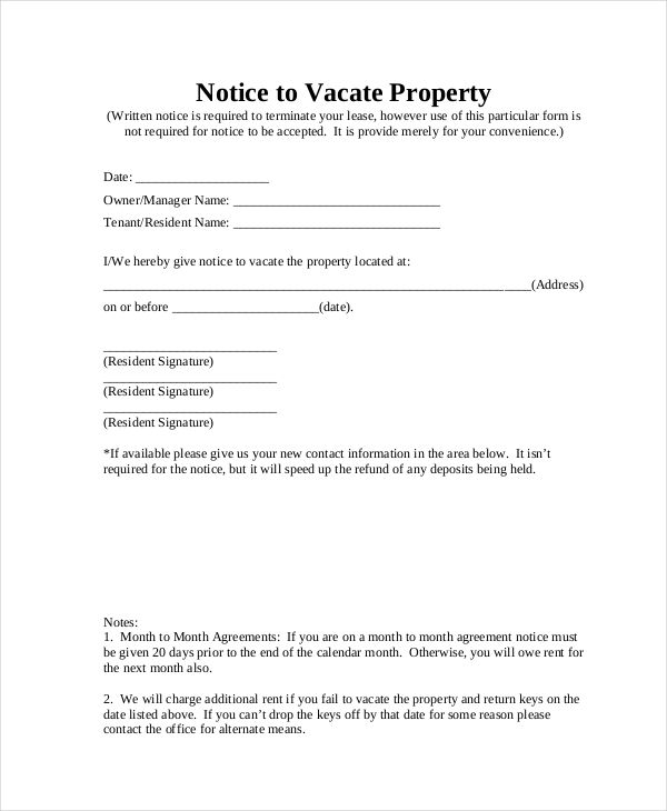 Free Notice To Vacate Pleasing Notice To Vacate Form 9 Free Documents In Pdf Doc  News To Go .